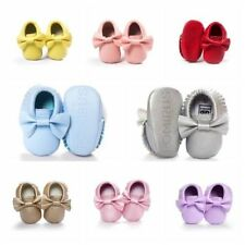 Baby Kids Pram Soft Sole Moccasin Boys Girls Toddler PU Leather Crib Shoes 0-18M