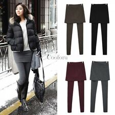 Fashion 2 in 1 Women Skirt Leggings Stretch Long Pants Casual Footless Jeggings