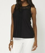 New Ladies Black Sleeveless Top Lace Detail T Shirt Blouse Loose Casual
