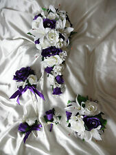 Cadburys purple and ivory wedding flowers buttonhole bridesmaid teardrop bouquet