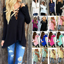 Womens Casual Loose Tshirts Long Sleeve Crew Neck Tunic Tops Blouses Pullover