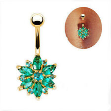 Belly Button Rings Crystals Rhinestone Flower Jewelry Navel Bar Body Piercing