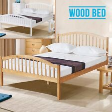 4FT6 Brown/White Solid Pine Wood Double Bed Frame Natural Pine Bedroom Furniture