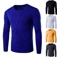 Mens Fashion Casual Slim Fit Oblique Buckle T-Shirt Long Sleeve Muscle Basic Tee