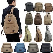 Mens Vintage Canvas Satchel Travel Hiking Backpack Messenger Shoulder Bag Lot