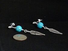 Gemstone Earrings- Turquoise, Feather, Silver Plated- Tribal/Native- Mens/Womens