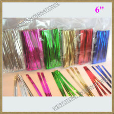 "100 pcs 6"" Metallic Twist tie for Cello Candy Bag"