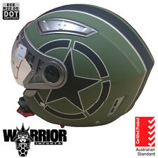Open face road helmet, adult sizes, Matte Green, 5 tick Aust Std, dual visor DVS