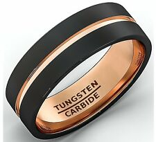 Mens Wedding Band Polished Two Tone Black Tungsten Ring 8mm Rose Gold Inlay Flat