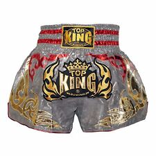 TOP KING MUAY THAI BOXING SHORTS, Silver Free Shipping, TKTBS-091 NEW