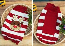 Christmas Reindeer Red Striped Pet Dog Puppy Sweater Clothes Apparel XXS-XXL