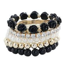 Women Charm Bracelet Jewelry Multilayer Imitation Pearl Flower Elastic Bangle