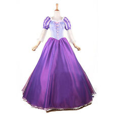 women Rapunzel Fancy Dress Cosplay Costume Princess Fairytale Tangled Ball Gown