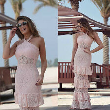 Sexy Women Pink Long Cake Dress Bodycon Lace Halter Party Cocktail Long Dress