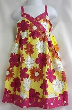 Penelope Mack Dress Girls Pretty Yellow Bright Pink Floral Dress Lined