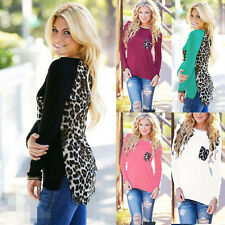 New Womens Ladies Long Sleeve Sexy Leopard Splice Cotton Tops T-Shirt Blouse HH