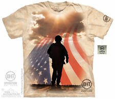 SOLDIER SILHOUETTE Support Our Troops American Flag Army Marines USA T-Shirt NEW