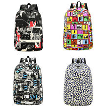 Women Girl Canvas Shoulder School Bag Bookbag Backpack Rucksack Flower Printed C