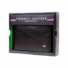 Tommy Hilfiger Textured Leather Wallet Billfold Credit Card Passcase Brown Black