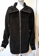 NWT $80 Coldwater Creek Velour du Jour Jacket, Black, Sizes L & XL