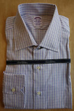 NWOT Brooks Brothers Egyptian Cotton White Blue Check Spread 16-35 Retail $168