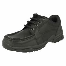 Boys Startrite Rhino Dylan Black Leather Lace Up School Shoes E, F, G & H Width