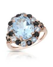 7.11 CTW Oval Sky Blue Topaz Gold Plated Silver Cocktail Ladies Ring