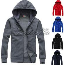 Stylish Mens Fashion T-shirts Hoodies Outwear Jacket Zip-up Solid Slim Tops Coat