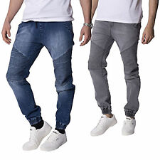 Mens Designer Jeans Jogger Denim Cuffed Pants Bottoms Cargo Stylish Funky Gents