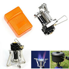 Portable Outdoor Picnic Gas Burner Hiking Camping Mini Foldable Steel Stove Case