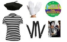 Kids French Man Mime Artist Fancy Dress TShirt Beret Braces Gloves Costume New