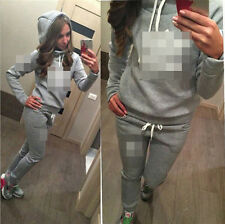 2016 Women's 2Pcs Casual Sport Tops Sweatshirt Track Pants Sweat Suits Tracksuit