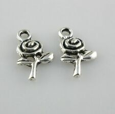 80/650pcs Tibetan Silver 9x15mm Rose Flower Charms Pendants Beads for Jewelry