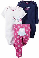 Carter's Infant Girls 3 Pc Bodysuits & Pant Set NWT  3M  9M or 18 Months  Cute