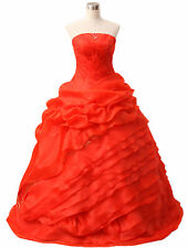 Red Long Wedding Formal Evening Party Bridesmaid Ball Gown Prom Dress size 8-16