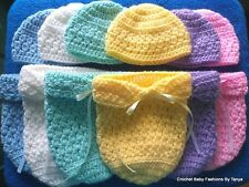 """LOOK! ADORABLE """"HAT & COCOON/PAPOOSE BABY SETS"""" - SIZES: PREEMIE, NEWBORN"""
