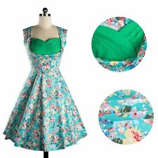 Floral Printed Check Swing Rockabilly Vintage Dress Fashion Women Formal Dress