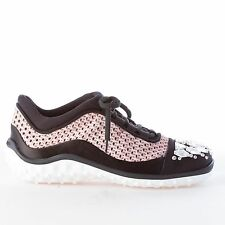 MIU MIU women shoes new Black satin pink fabric sneaker with Swarovsky crystals