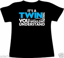 TWIN THING Boys Personalised T-shirt Custom printed Pink Purple GIFT TWINS Baby