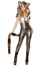 Sexy silver leopard hooded catsuit J Valentine costume