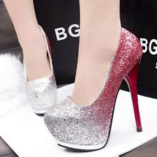 Size 4-8 Synthetic Leather Platform Stilettos Lady High Heels Party Women Shoes