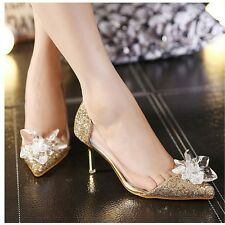 Womens Stiletto Kitten Mid Heel Pointy Sequins Crystal Pump Wedding Bridal Shoes