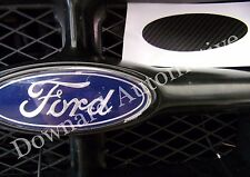 Black Carbon Fiber Wrap Vinyl Decal -Oval Cut to Cover(Overlay)Ford Emblem