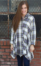 NEW Tulip Lagenlook Boho Chic Plaid Hannah Button Down Top Middleton Size S-XL
