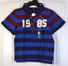 NWT BOYS TOMMY HILFIGER BLUE SHORT SLEEVE RUGBY POLO T SHIRT SZ 3T, 4T, XS (4-5)