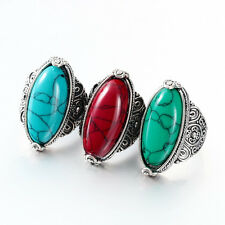 Oval Cut Red/Green/Blue Turquoise Gemstone Tibet Tribe Silver Ring Size 7-10