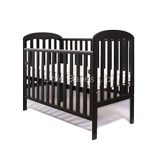 New Mia Drop Side Baby Black Cot + / - British Made Safety Mattress 120x60x10cm