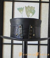 Steampunk Hat Corset Gothic Dragon Skin-Style Leather Top Hat