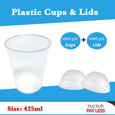 Dispoasable Plastic Cups including Dome Lids 425ml Party Cups Drinking