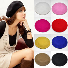 Womens Ladies Warm Wool Beret Stylish French Artist Beanie Hat Ski Cap Headgear